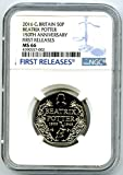2016 GREAT BRITAIN 150TH ANNIVERSARY OF BEATRIX POTTER FIRST RELEASES 50P MS66 NGC