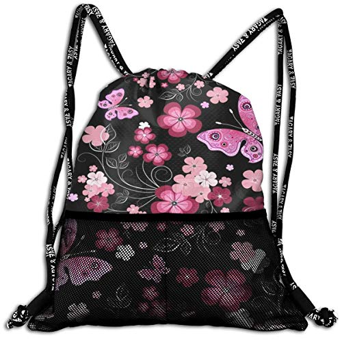 Black Red Flower Drawstring Bag Sport Gym Sackpack Large Capacity Beam Backpack, Home Travel Storage Use Gift For Men & Women, Girls Boys ()