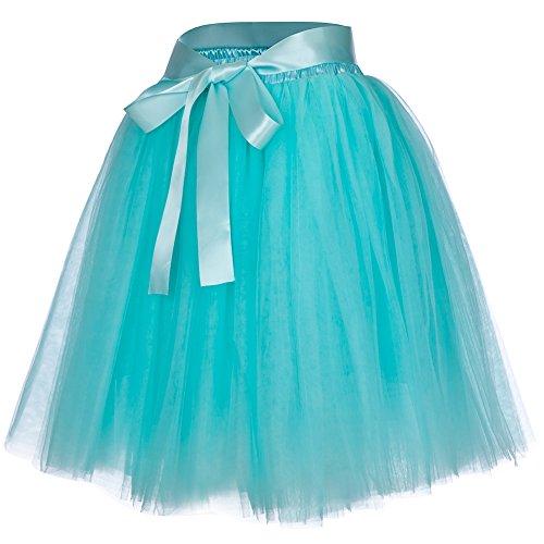 Women's High Waist Princess Tulle Skirt Adult Dance Petticoat A-line Wedding Party Tutu(Mint green) -