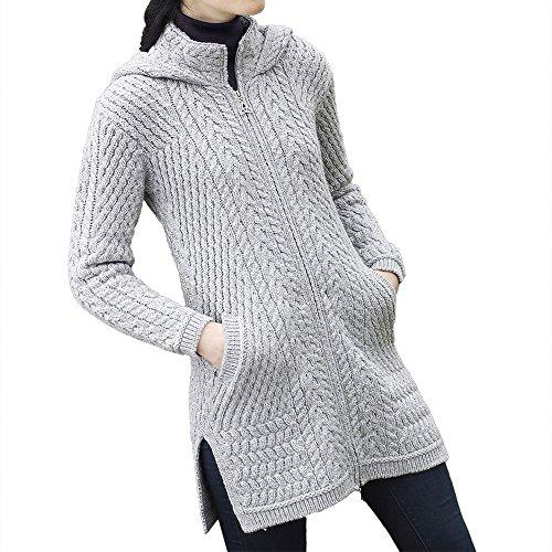 Chunky Hooded Cardigan - West End Knitwear Irish Wool Ladies Hooded Long Aran Zip Sweater Coat (X-Small)