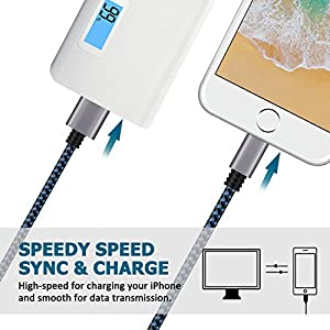 iPhone Charger, Cablex Lightning to USB Cable 3Pack 3FT 6FT 10FT Nylon Braided Charging Cord Compatible with iPhone X 8 8Plus 7 7Plus 6s 6sPlus 6 6Plus SE 5 5s 5c iPad iPod & More (Blue)
