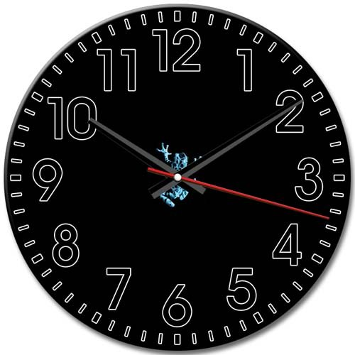 Arabic Numbers Collectible Quiet Pattern Frameless Fringe Round Wall Clock 10 Inch / 25 cm Diameter