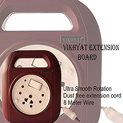 8 Meter Wire Vikhyat RolexoB0 Extension Board 2 Pin Flex Box with Switch & Indicator Ultra Smooth Rotation(6 Amp.240V AC) with 8 Meter Wire | Only Dust Free Extension Cord (Maroon & White)