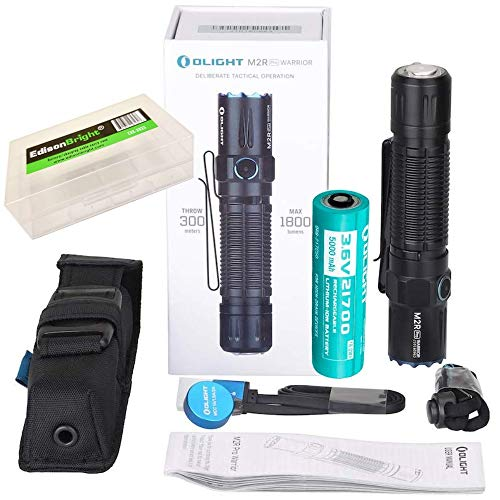 OLIGHT M2R Pro Warrior 1800 Lumens USB Magnetic Rechargeable Tactical Flashlight, 21700 Battery, holster with EdisonBright BBX5 battery carry case bundle (Black)