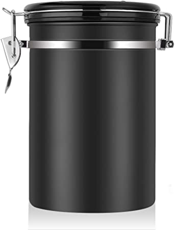 Large Airtight Coffee Container, Stainless Steel Black Kitchen Storage  Canister for Coffee, Nuts,Sugar, Flesh(22 OZ)