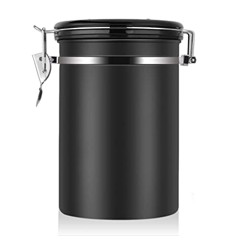 Large Airtight Coffee Container Stainless Steel Black Kitchen Storage Canister For Coffee Nuts Sugar Flesh 22 Oz