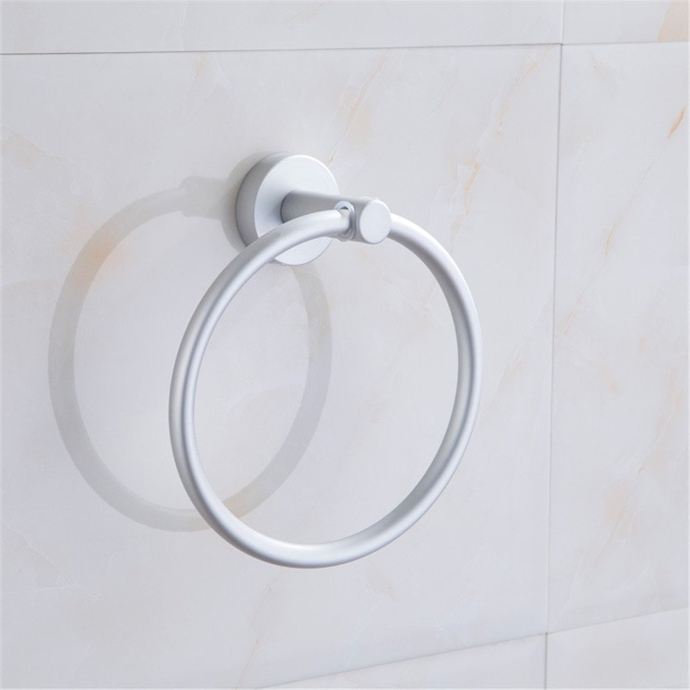 JIAHENGY Continental style and simplicity space aluminum punch round hanging loop thick Metal Hanger bathroom WALL MOUNTED KITCHEN toilet Towel Bars Towel Racks Towel Rings