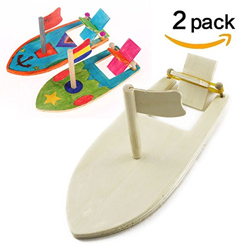 Band Wood Rubber (TKOnline DIY Wood Sailboat Rubber Band Paddle Boat Make Your Own Wood Sailboat Craft Kits for Boys and Girls to Paint and Decorate, Pack of 2)