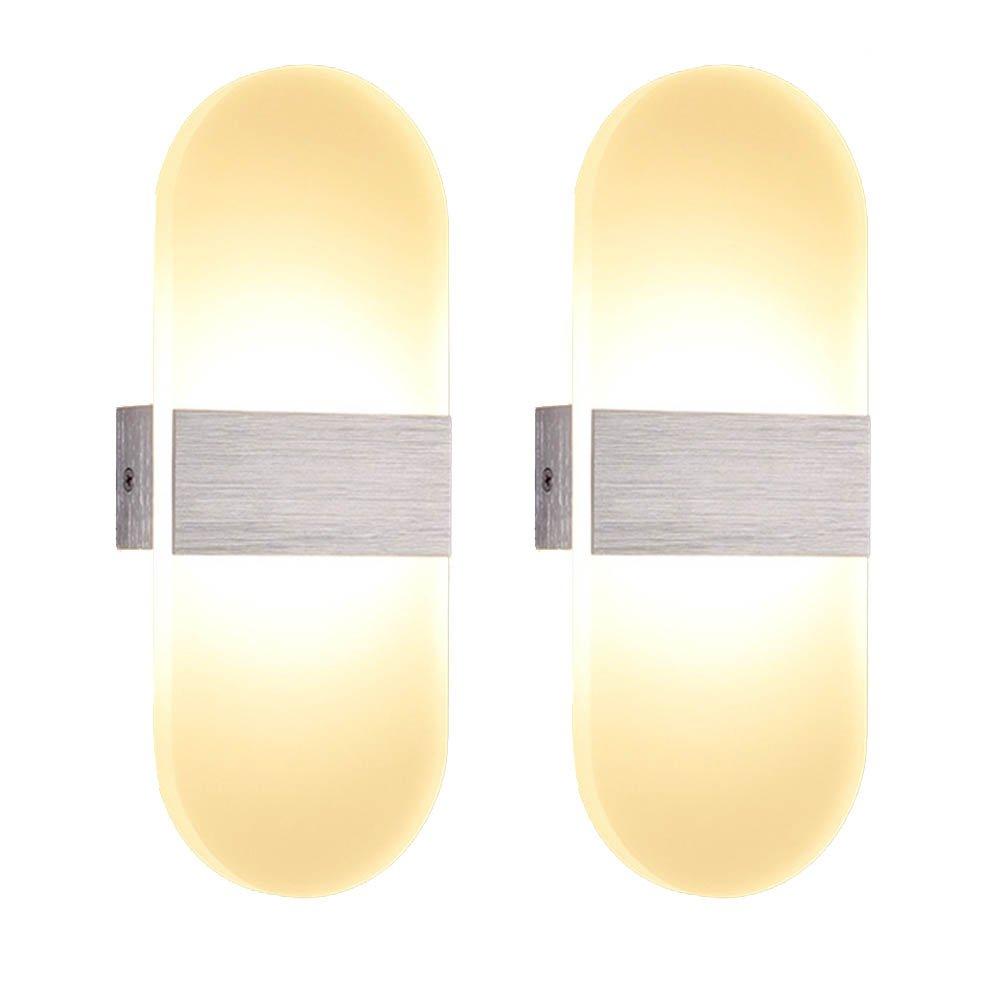 SAILUN 2x6W Blanc chaud Applique murale LED moderne aluminium acrylique Eclairage de Salle De Bains salle de séjour chambre à coucher couloir élégant ovale 290mm * 110mm (2*6W Blanc chaud ovale) [Classe énergétique A++] Generic