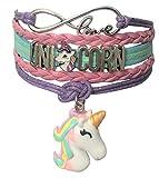 Doctor Unicorn - Cute Unicorn Bracelet Wristband Handmade Rainbow Jewelry Infinity Love Charm Gifts 17 Styles (Purple Bracelet with 2 Unicorns)