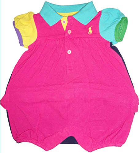 Ralph Lauren Polo Infant Girls Short Sleeve Romper Carmel Pink Multi (9 Months)