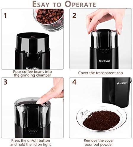 Barsetto - Molinillo eléctrico para especias y café, cuchillas de ...