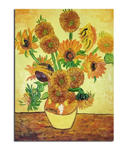 Muzagroo Art Oil Paintings Hand Painted on Canvas Van Gogh Vase with Fifteen Sunflowers Reproduction Stretched(12x16in) Hand Painted Vases