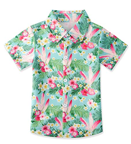 - uideazone Little Boys Daily Dress Shirt Handsome Floral Printed Polo Shirts Green and Pink Short Sleeve Button Down Tops Slim Fit Tee Shirts Size 7-8 T