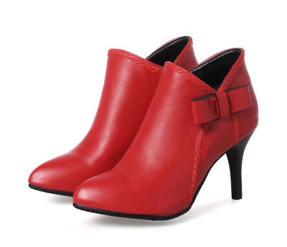 Women Pump 8cm Stiletot Pointed Toe Short Boots Comfort Fashion Bootie Pure Color Bowknot Wedding Casual Dress Party & Evening Shoes Eu Size 34-43 ( Color : Red , Size : 42(not returned) )