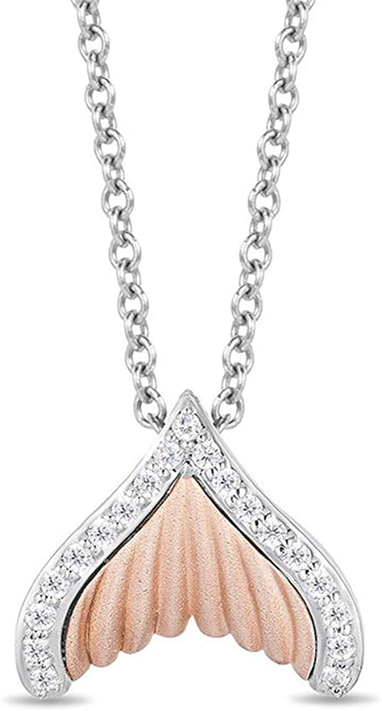 D//VVS1 Diamond Tail Fin Pendant In 925 Sterling Silver And 10K Rose Gold Plated 18 Chain 1//4 CT T.W