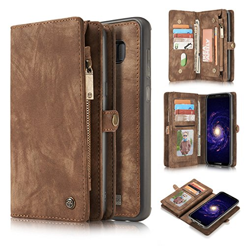 Galaxy S8 Protective Wallet Case, INorton Premium Leather Stand Smart Wallet Cover with Credit Card Slots and Hand Pouch for Samsung Galaxy S8 5.8'' by INorton