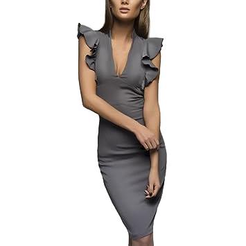 Vestido de mujer vintage, delgado, Saihui profundo cuello en V, algodón, volantes