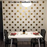 4x4 Set of 48 Polka Dot Circles vinyl lettering decal home decor wall art saying (Gold)