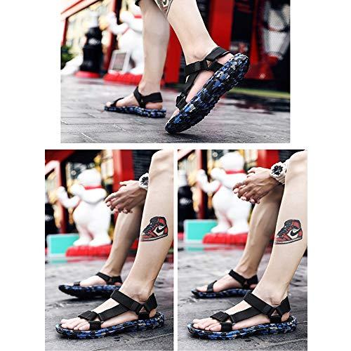 Romani per Xiaoqin il estivi Sport Open tempo libero Sandali Sandali Men's Comodi Sandali Slip Toe Blue Regolabili adatti Sport vvwqrfO
