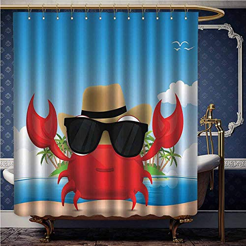 Jiahong Pan Crabs,Shower Curtain with Hooks Cool Crustacean with Black Sunglasses and a Hat Summer Vacation on Tropical Island Use for Bathroom Decor Multicolor W36 ()