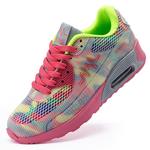 Ausom Womens Air Max Fashion Breathable Casual Sneakers Running Shoe Pink QBSxk