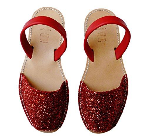colores abarcas sandalias varios albarcas Auténticas Glitter rojo avarcas menorquínas nvxqRg
