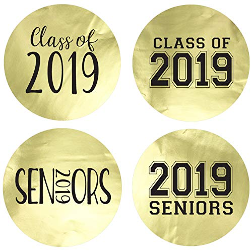 Class of 2019 Metallic Foil Party Favor Circle Sticker Labels, 60 Count (Gold)