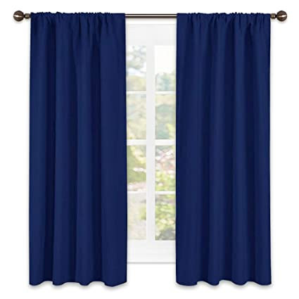 Superior NICETOWN Navy Bedroom Curtains Blackout Draperies   All Season Thermal  Insulated Solid Rod Pocket Top Blackout