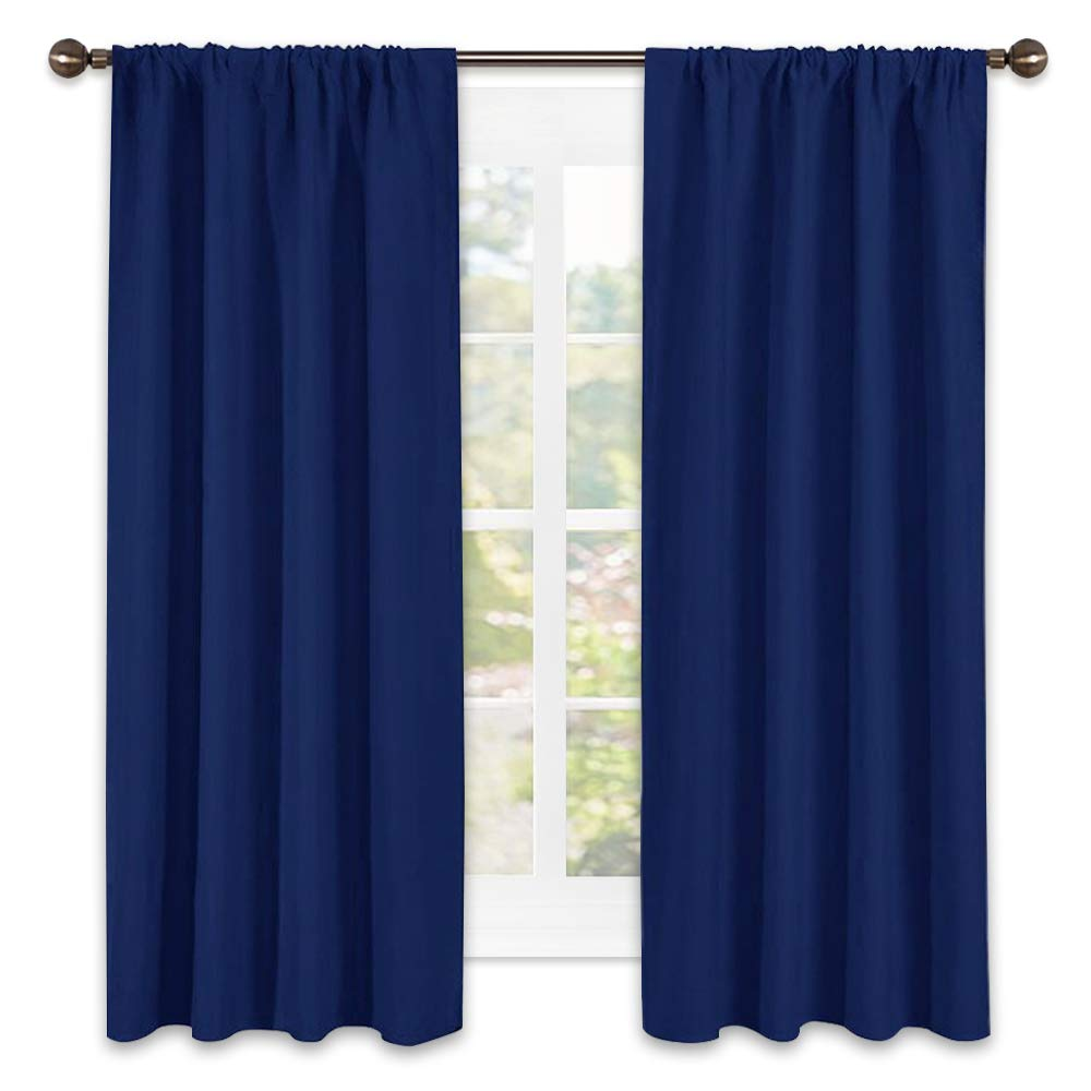 NICETOWN Navy Bedroom Curtains Blackout Draperies - All Season Thermal Insulated Solid Rod Pocket Top Blackout Curtains/Drapes for Kid's Room (Royal Navy Blue, 1 Pair,42 x 63 Inch)