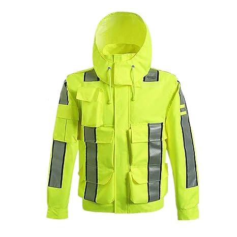 Chalecos reflectantes Chaqueta de lluvia impermeable, poncho con capucha impermeable de la seguridad reflexiva para