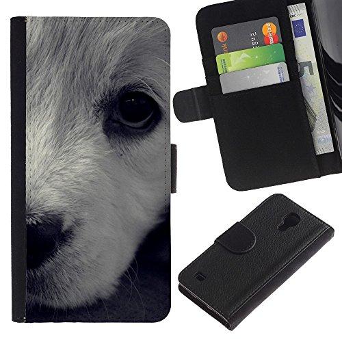 LASTONE PHONE CASE / Lujo Billetera de Cuero Caso del tirón Titular de la tarjeta Flip Carcasa Funda para Samsung Galaxy S4 IV I9500 / White Terrier Havanese Dog Puppy