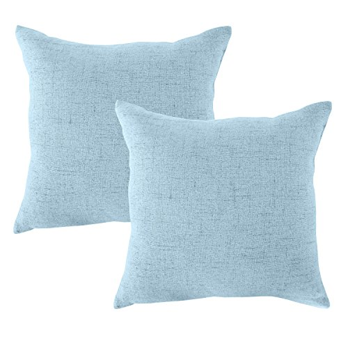 4PCS Throw Pillow Covers Coastal Cushions Fine Faux Linen Home Decorative Soft Pillow Case Covers No Pillow Insert Pillowcases Outdoor Indoor Light Covers Home Decor (20 x 20 inch, (4PCS) Light blue)