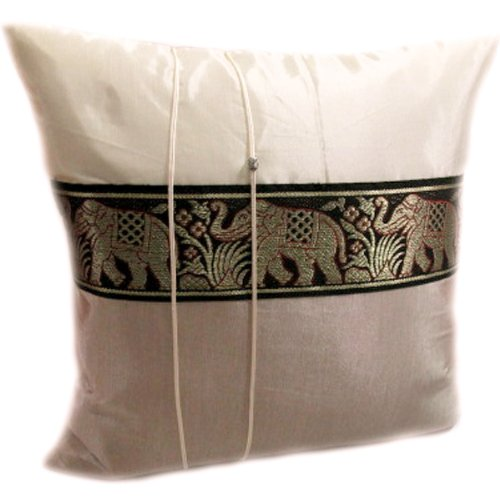 - Set of 2 Silk Elephant Decorative Throw Cushion Cover Pillow Case (Vintage Item Size 16 X 16 Inches Champagne & Khaki)