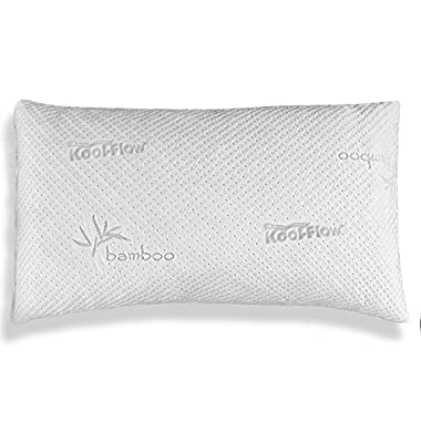 Slim Hypoallergenic Bamboo Pillow - Shredded Memory Foam With Kool-Flow Micro-Vented Bamboo Cover - Made in the USA by Xtreme Comforts - Hypoallergenic and Dust Mite Resistant (King)