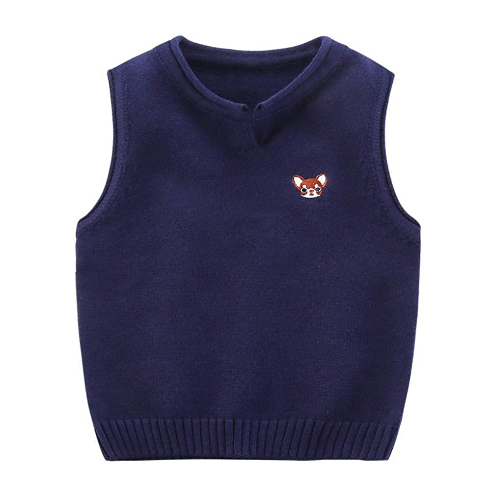 Gyratedream Kids Knit Gilets Boys Girls Christmas Sweater Sleeveless Knitted Jumper Vest Pullover Tops Patterned Age 1-6 Years