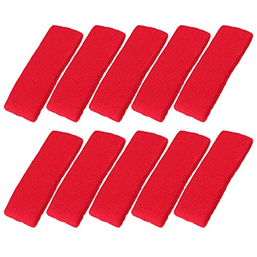(Mallofusa 10 PCS Cotton Sports Basketball Headband/Sweatband Head Sweat Band/Brace Gift Party Outdoor Activities (Red))