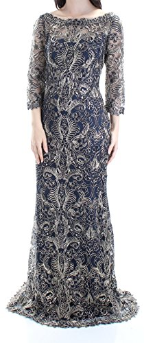 Tadashi Shoji 588 Womens New 1239 Navy Gold Embellished Sheath Dress 4 B+B