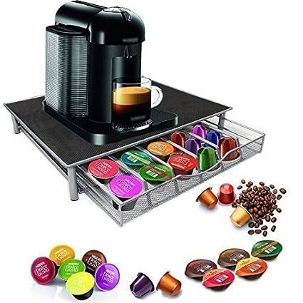 Garden Mile Dolce Gusto Soporte de cápsula café, apilable 36 Café almacenaje cajón, Acero