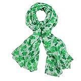 Sikye Chiffon Sheer Scarf,Fashion Soft Green Irish Four-Leaf Shamrock Shawl Wrap Scarves for Women Female (Mint Green)