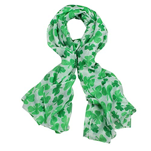 iFOMO St. Patrick's Day Printed Chiffon Shamrock Scarf for Women Lightweight Long Scarf(Mint Green,90cm X 180cm)