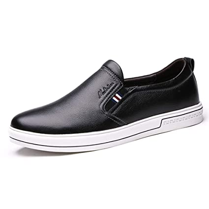 LXLA- Zapatos De Cuero Ocasionales Cómodos del Resbalón De Los Hombres, Mocasines Principales Redondos