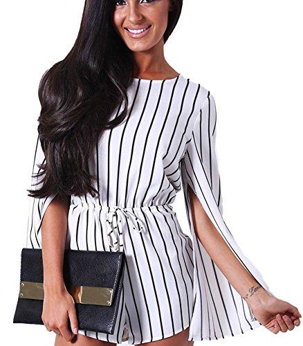 Cloak Style Long Sleeve - Bellady Women's New Fashion Cloak Style Stripes Long Sleeve Romper Jumpsuit Playsuit