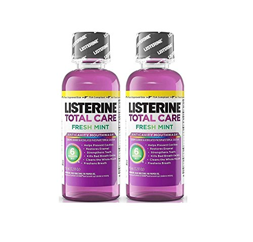 Listerine Total Care Fresh Mint Antiseptic Mouthwash, Travel Size 3.2 Ounces (95ml) - Pack of 2