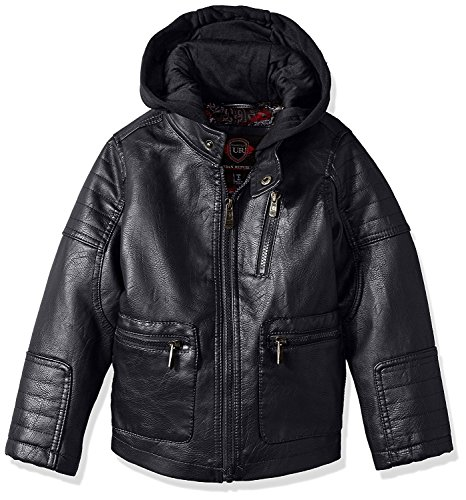 Urban Republic Boys Winter Cool Motorcycle Biker Faux Leather Jacket Kids Coat -