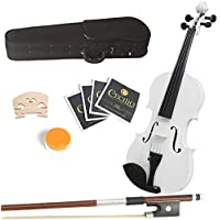 Mendini 14-Inch MA-White Solid Wood Viola with Case, Bow, Rosin, Bridge and Strings
