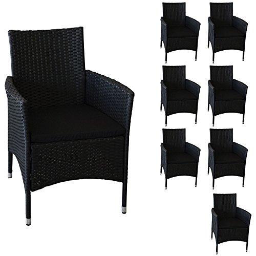 8 pieza Polirratán ratán Sillón Silla silla de jardín de ...