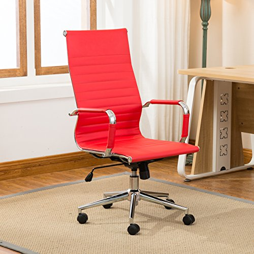 Belleze Modern High-Back Executive Ribbed Upholstered Faux Leather Conference Swivel Tilt Office Desk Chair, Red by Belleze