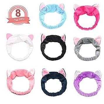 17a381f5b fomei Elastic Cute Cat Ears Headbands Women's Lovely Kitty Hair Band,  Comfortable Spa Facial Headband
