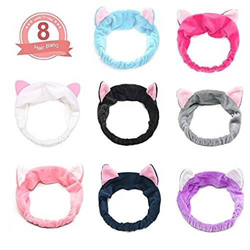 fomei Elastic Cute Cat Ears Headbands Women's Lovely Kitty Hair Band, Comfortable Spa Facial Headband, Washable Wrap Headbands for Bath, Makeup and Sport Fits All Head Sizes (8 Pack, Candy Color) -